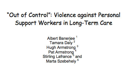 'Out of Control:' Violence against personal support workers in long-term care (2008)