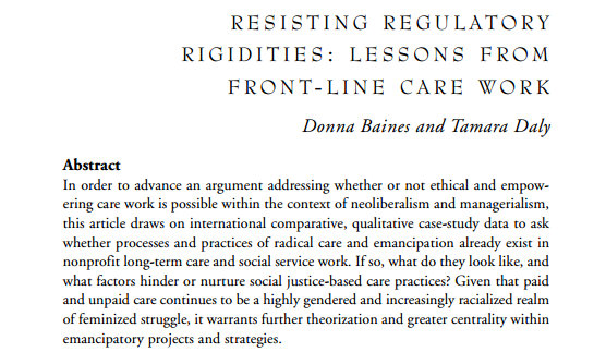 Resisting Regulatory Rigidities: Lessons from Front-Line Care Work (2015)