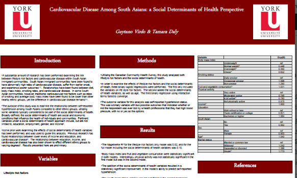 Poster: The effects of lifestyle factors and the social determinants of health on cardiovascular disease among South Asians