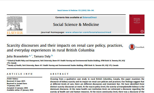 Scarcity discourses and their impacts on renal care policy, practices, and everyday experiences in rural British Columbia