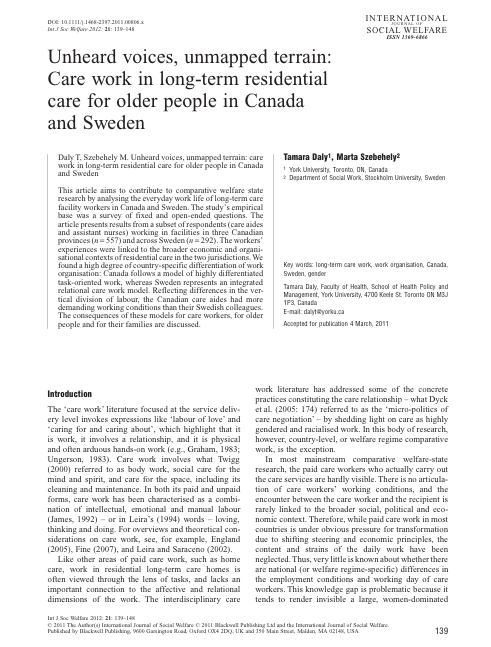 Unheard voices, unmapped terrain: comparing care work in long-term residential care for older people in Canada and Sweden (2012)