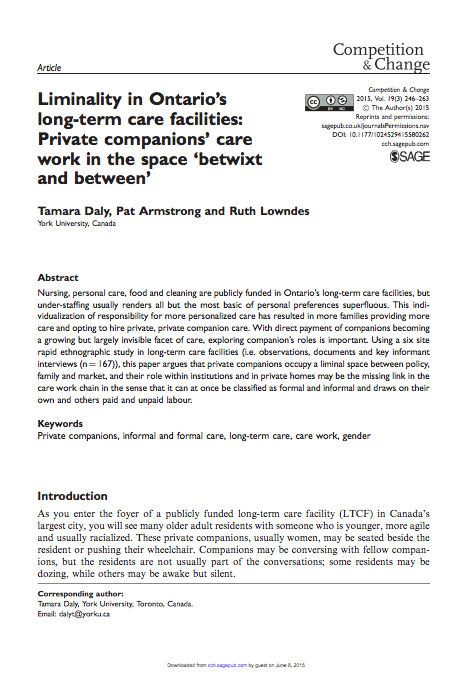 Liminality in Ontario's Long-Term Care Homes: Paid Companions' Care Work in the Space 'Betwixt and Between' (2015)